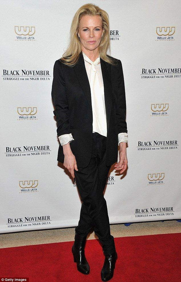 Looking good: The 58-year-old blonde looked fabulous in her two-piece black ensemble paired with a pussy-bow style blouse