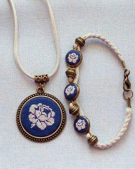 Needlepoint necklace and bracelet