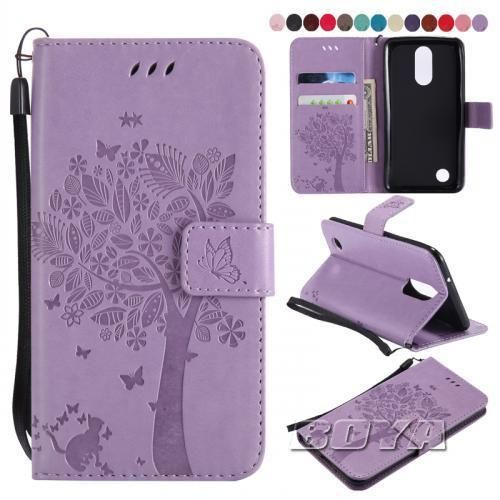 best website 32f13 c5afd For LG K8 2017 Phone Case PU Leather Magnetic Flip Folio Cat and ...