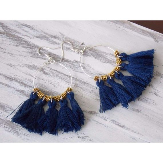 Bohemian Blue Tassel Dangle Earrings