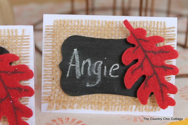 Diy burlap thanksgiving placecards and placemats country