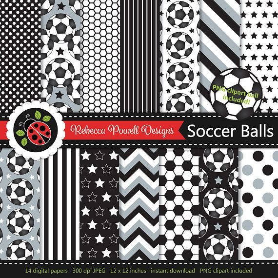 Soccer/ football digital paper set which includes a clipart PNG soccer ball! Great for crafts, scrapbooking, commercial and digital use. Available from Etsy & Teachers Pay Teachers #etsy #etsyseller #etsyshop #teacherspayteachers #soccer #football #sports #supplies #commercialuse #pattern #digitalpaperset #printablepapers #papers #crafts #scrapbooking #soccerballs #footballs #digitaldownload #digitalbackgrounds #blackandwhite #clipart #resources #instantdownload #jpeg #png #stars #spots…