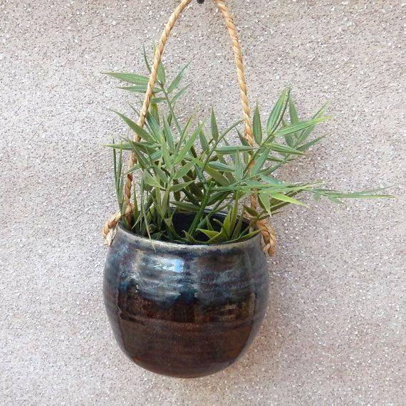 Hanging herb planter .....handmade pottery ceramic