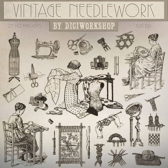 #Needlework Clip Art #Clipart, Needlework Clipart: #Vintage Needlework  This vintage clip art contains 27 different vector needlework images, very suitable for cards, invites,... #etsy #digiworkshop #scrapbooking #illustration #creative #printables #cardmaking #needlework's