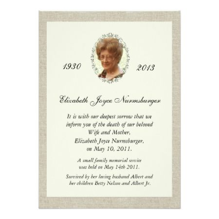 Traditional Linen Look Photo Death Announcement Sympathy Cards And