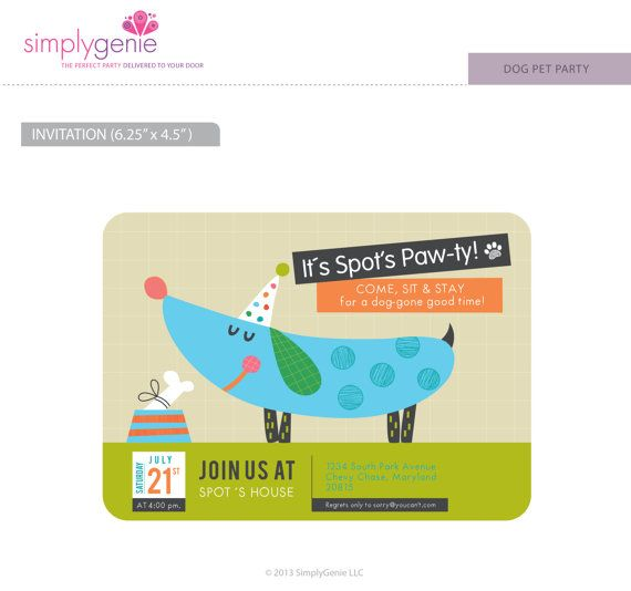 11 best Dog Birthday Party Invitations images on Pinterest Puppy