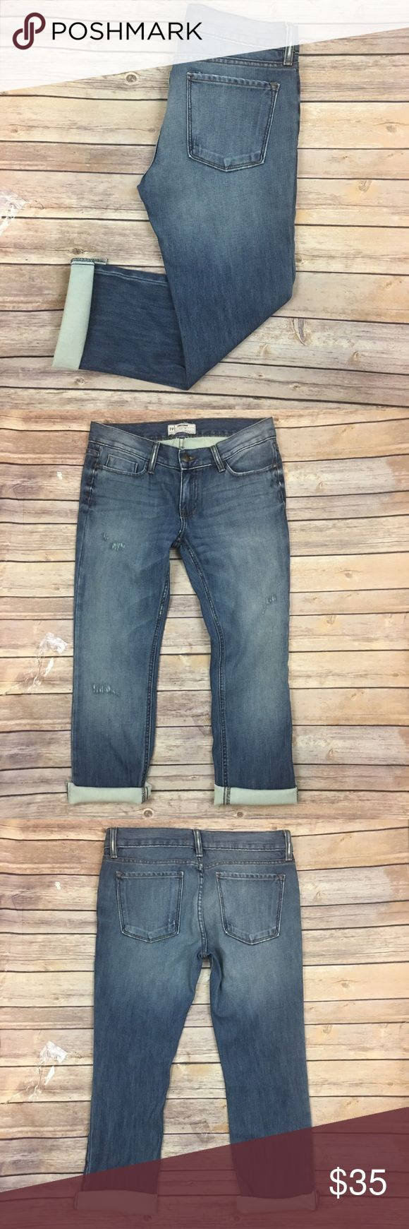 """Free People Jeans Boyfriend Distressed Rolled Cuff Tag Size - 28 Waist Measured Across - 16"""" Inseam - 26"""" Rise - 8.5"""" The cuffs have been cut and are raw. Always open to reasonable offers. Free People Jeans Boyfriend"""