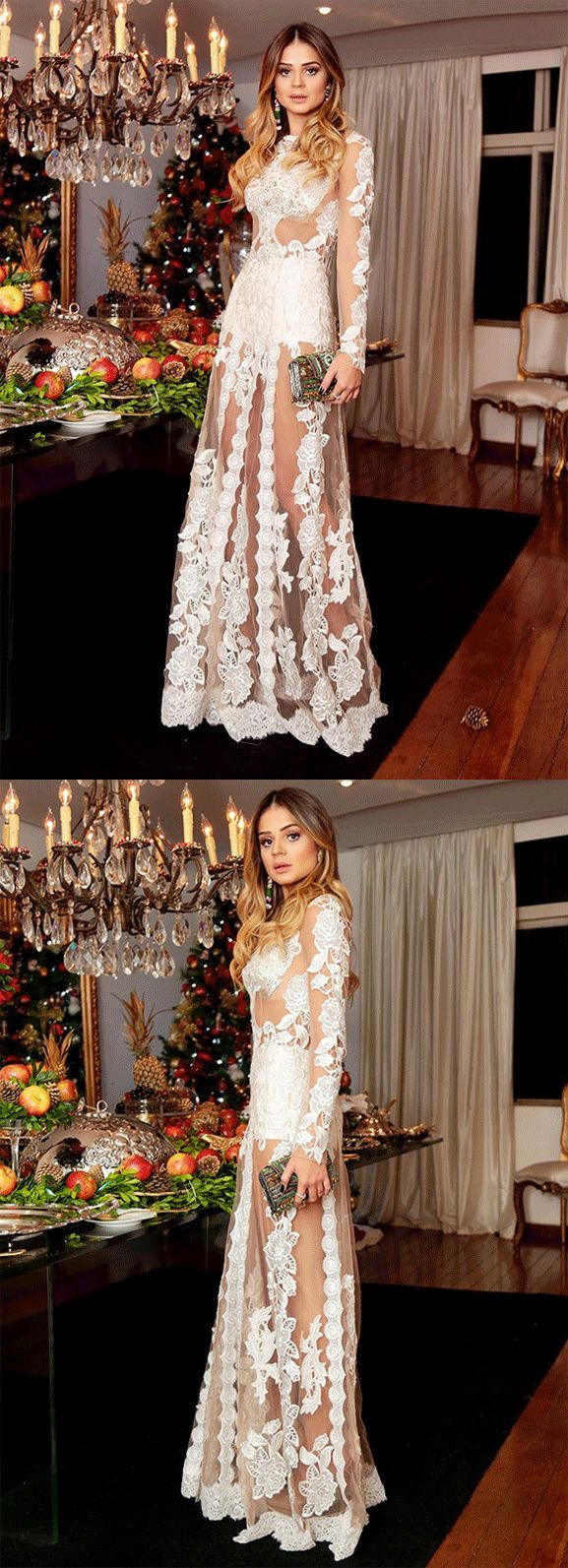 A-Line Jewel Long Sleeves Floor-Length White Tulle Prom Dress – Maria Clara Guanho