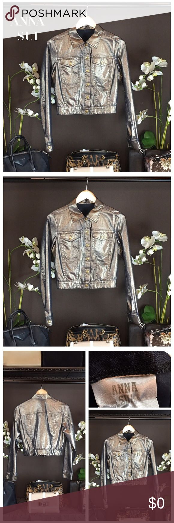 """ANNA SUI METALLIC GOLD JACKET Anna Sui jacket with pointed collar, dual flap pockets at bust and exposed button closures at center front. Color: Gold metallic iridescent Condition: Excellent. Approx Measurements: Bust 36"""", Waist 37"""", Shoulder 16"""", Length 20"""". Sold Out! Anna Sui Jackets & Coats"""