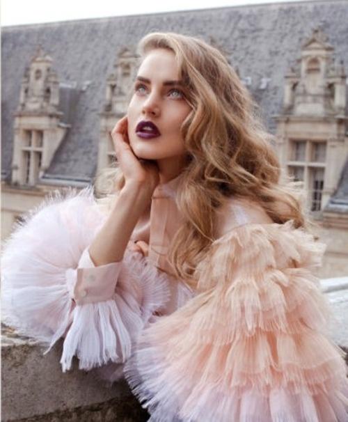 chiffon: Ruffle, Fashion Models, Style Inspiration, Pale Pink, Victoria Secret, Medium Hair, Pretty Makeup, Dark Lips, Lemonade Mouths