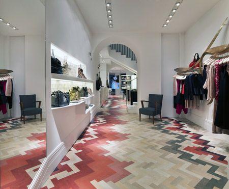 Stella McCartney's first Milan store. Multicoloured Oak Parquet Flooring - love it!