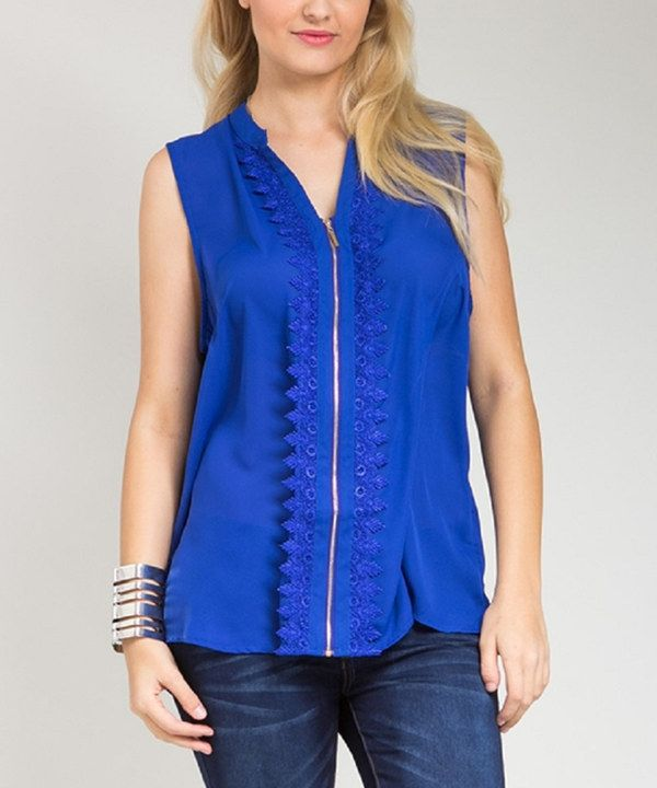 Look at this Royal Blue Crochet Zip-Up Tank - Plus on #zulily today!