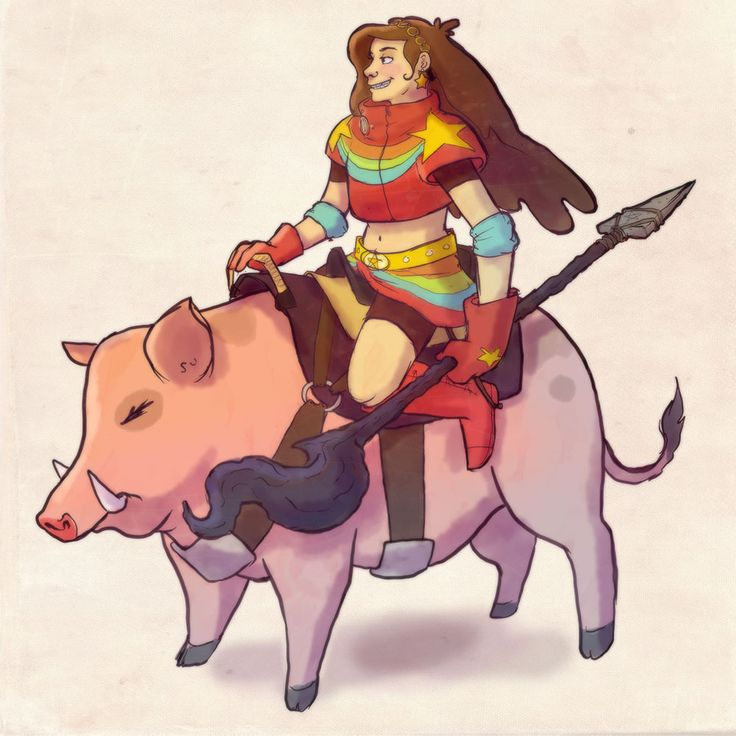 """""""Heeey, Dipper, check out my sweet-ass ride!"""" """"Mabel…is that…is that Waddles?? Did Bill drag him into this game too?"""" """"Nah, brobro, I just did this quest for a steed whistle, and since my subclass is Beast Master, I get to customize. Pretty sweet huh? And his name is Waddles Jr."""" For my RPG AU. Needed to draw Mabel and her freakin boar steed. heehee, had fun with this. :D"""