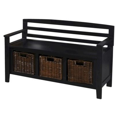 Entryway Bench With Drawers And Baskets Black Behind Couch In Living Room 506 Penn