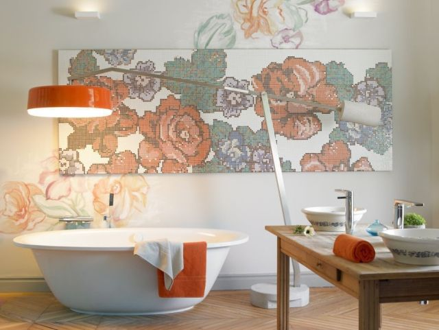 Badezimmer Bilder Wanddeko Rosen Mosaik Orange Akzente