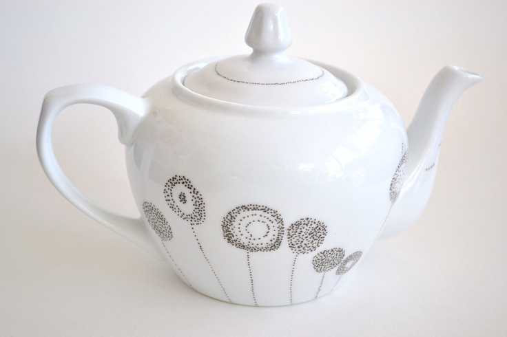Recycled Teapot: Legal Weed - Reclaimed Teapot Hand Painted with Tiny Dots in the Shape of Dandelions. $35.00, via Etsy.