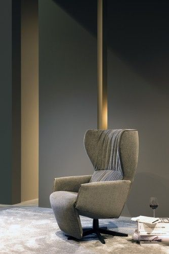 "Rapsody reclining chair | JORI - Delightfully ""fluffy"" it looks temptingly cosy : as a comfortable shell, ideal for a comfortable rest after a hard day or for a power-nap."