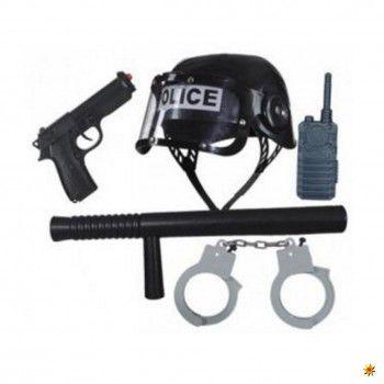 """Polizei Set, Zubehör Polizist Das 5-tlg. Polizei-Set bestehend aus einem Helm mit klappbarem Visier, Schlagstock, Pistole, Telefon und Handschellen. Auf dem schwarzen Kunststoff-Helm steht die Aufschrift """"Police"""".und """"Police""""-Aufschri"""