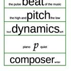 This set of musical word wall words have the meaning printed on the cards in a smaller font.  Some are very creative like crescendo and decrescendo...
