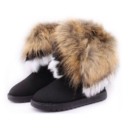 Zlyc Women's Bohemian Winter Furry Boots With Long Fur 101