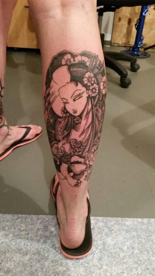 Geisha Girl tattoo Work in progress Artist: Ray  35 Ranfurly Street, The Old Mill, Kaiapoi Ray: 0277293000 Sarah: 0273591927