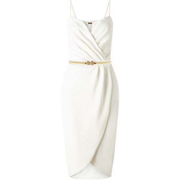 Miss Selfridge Cream Wrap Pencil Dress ($52) ❤ liked on Polyvore featuring dresses, cream, women, cream wrap dress, white dresses, creme dresses, cream pencil dress and white wrap dress