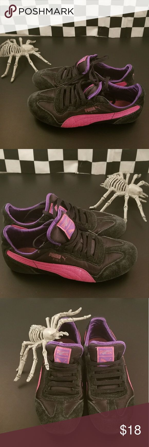 Pink & Purple Pumas A grrly pair of running kicks to die for! ☠☠☠  Size: 6 Brand: Puma In good condition. Wear around the front and inner sole (see photos). Puma Shoes Athletic Shoes