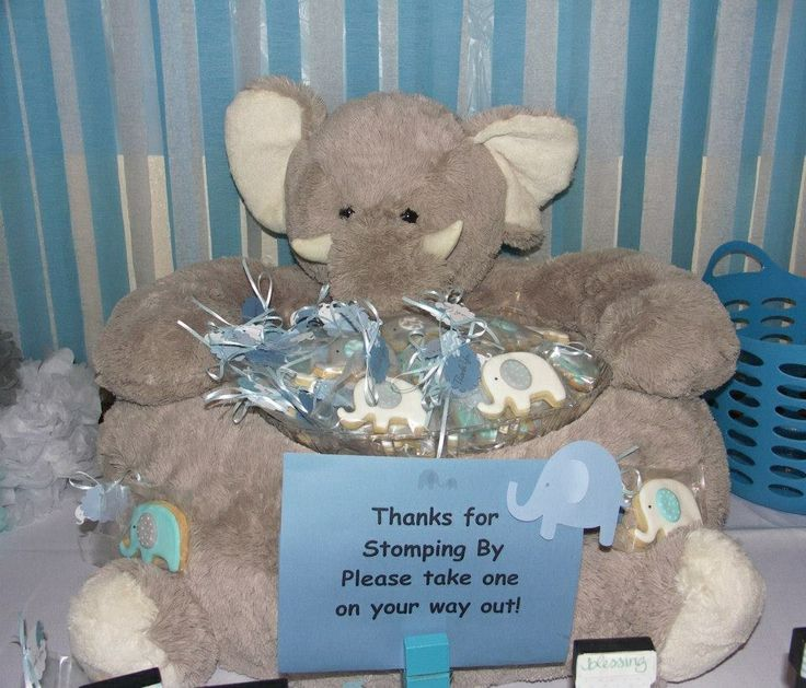 Elephant Thanks For Stomping By Elephant Pillow Holding Thank You Cookies. Elephant  Theme Baby Shower