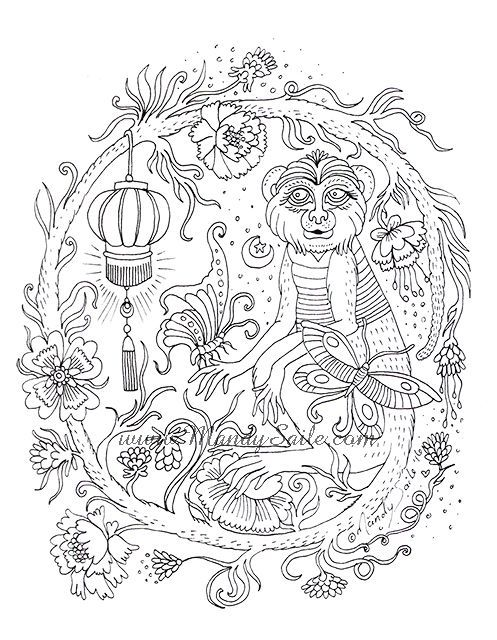235 best coloring ape images on Pinterest Africa, Art and Art - best of coloring pages with monkeys
