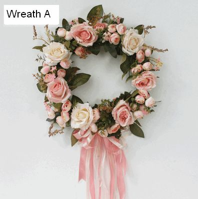 Pink and Roseo Rose Flower Wreath with Silk Ribbon, Artificial Silk Flower Wreath for Home Decoration