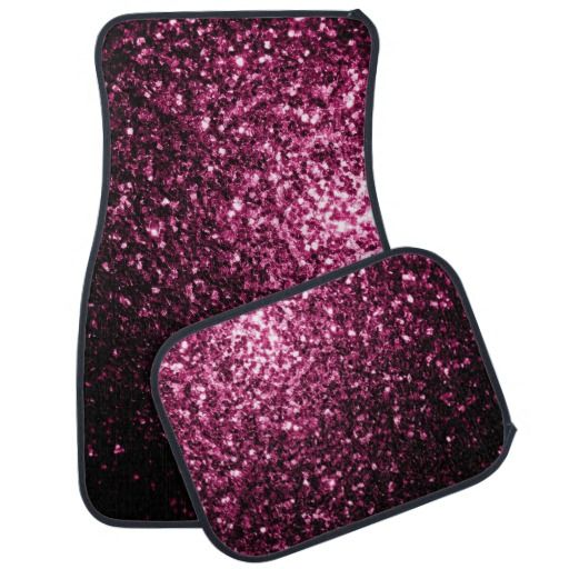 Sparkle up your car: Beautiful Pink glitter sparkles look Car Mats Set by #PLdesign #PinkSparkles #SparklesGift