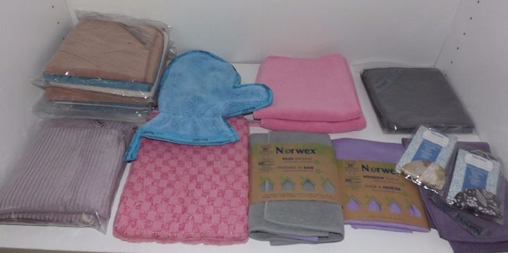 Lot of 23 Norwex Cloth Items Kitchen Towels Dust Mitt Body Cloth Window Cloth  #Norwex