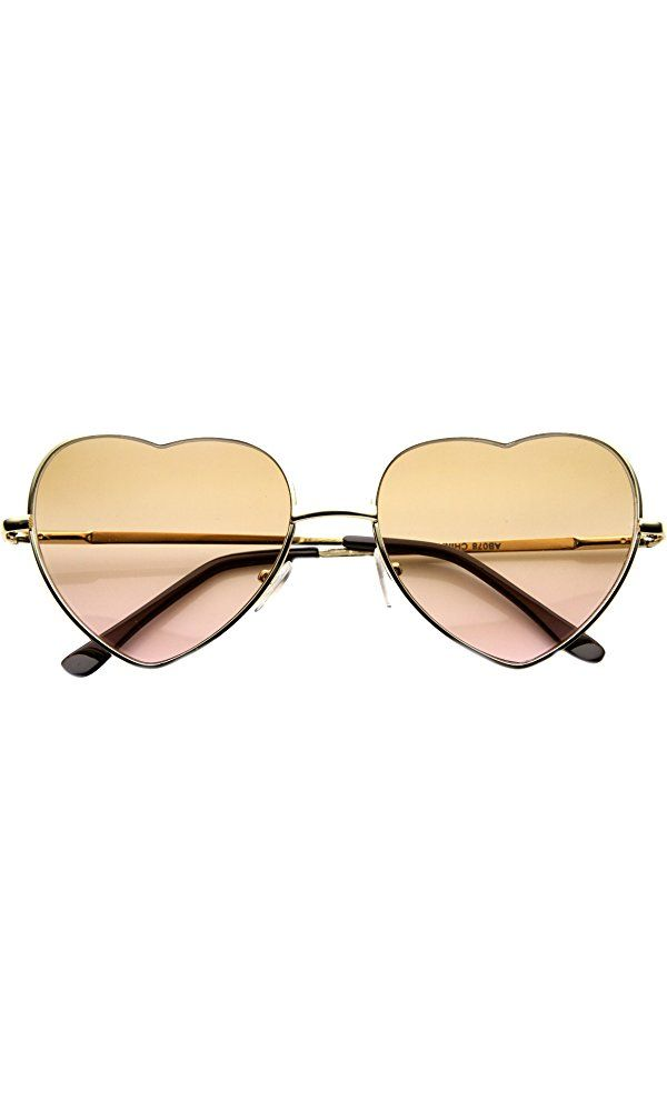 ZeroUV - Small Thin Metal Heart Shaped Frame Cupid Sunglasses (Gold Rose) Best Price
