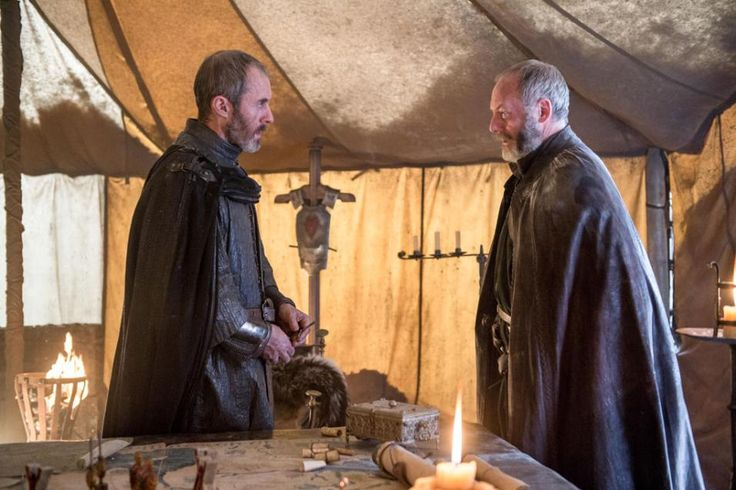 Stephen Dillane as Stannis Baratheon and Liam Cunningham as Davos Seaworth