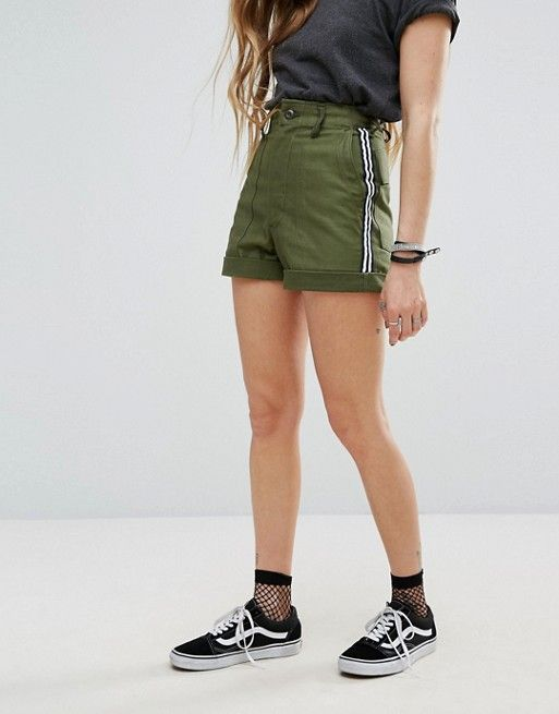 Reclaimed Vintage Revived Military Shorts With Stripe