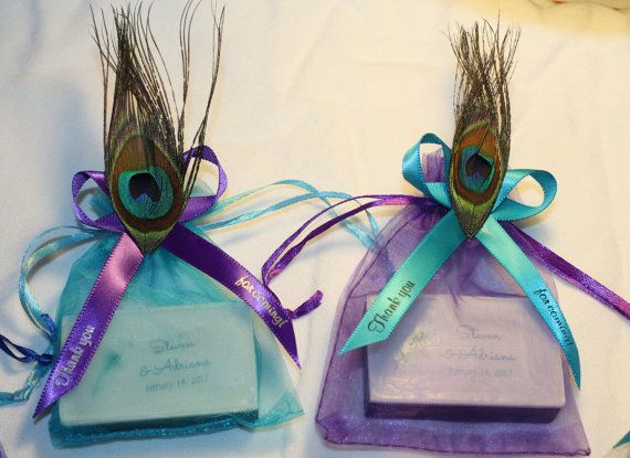 10 Peacock Theme Soap Party Favors PERSONALIZED FREE Baby Shower Wedding Bridal Shower Reception Custom Color & Scent Blue Purple Feather