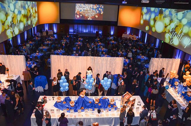 Infinity Park can configure the layout of any event to your wishes. This layout kept the dinner tables separate from the rest of the events at the Faith Gala
