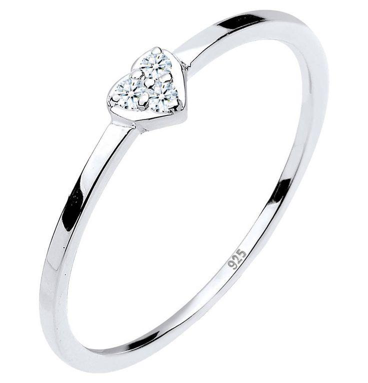 Elli Ring Herz Symbol Diamant 0.06 Ct. 925er Sterling Silber – GALERIA Karstadt Kaufhof