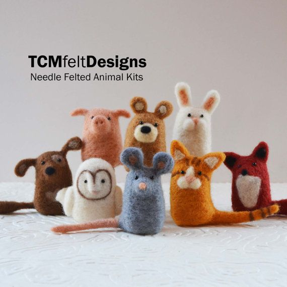 2 aguja fieltro animales kits, kits de arte DIY completo fibra de lana para principiantes
