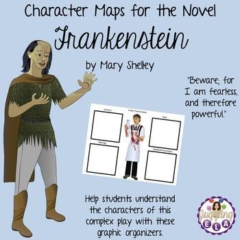 There are twelve character maps for the novel Frankenstein by Mary Shelley in this product.There are character maps for for Agatha, The Creature, Elizabeth Lavenza, Felix, Frankenstein Parents, Henry Clerval, Justine Moritz, M. DeLacey, Robert Walton, Safie, Victor Frankenstein and William.  **The character maps come in both color and black and white so you can decide which one would be better for your printing needs. You only need to print out every other page (either color or black and…