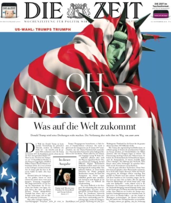 """""""Oh My God"""" – Blankes Entsetzen auf dem Titel der Wochenzeitung """"Die Zeit"""""""