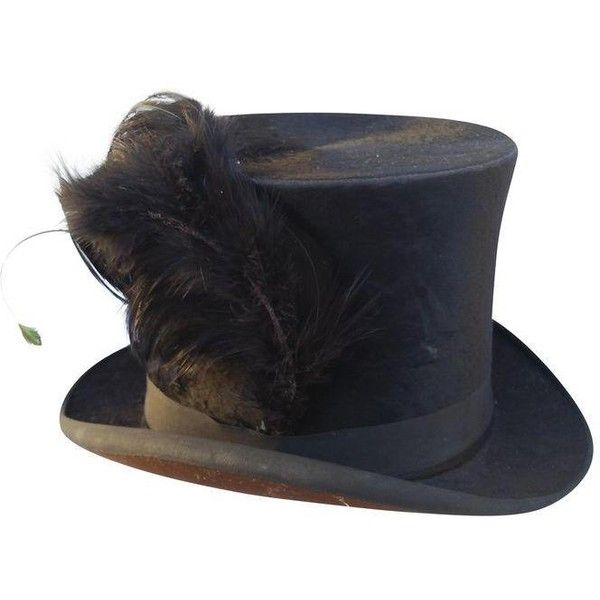 Victorian Beaver Top Hat With Feather ($229) ❤ liked on Polyvore featuring home, home decor, decorative objects and victorian home decor