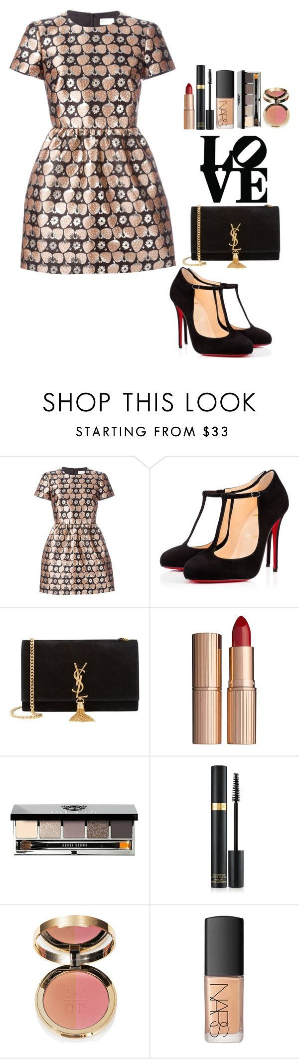 """""""#532"""" by victoria2610 ❤ liked on Polyvore featuring RED Valentino, Christian Louboutin, Yves Saint Laurent, Charlotte Tilbury, Bobbi Brown Cosmetics, NARS Cosmetics, women's clothing, women's fashion, women and female"""
