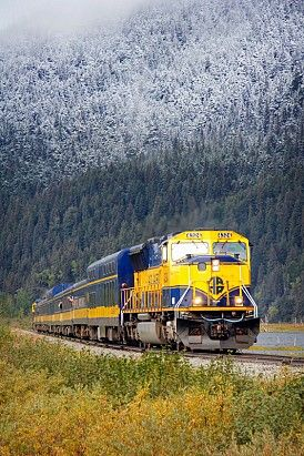 The Alaska Railroad - mid-September sees a light dusting of snow creeping down the mountains along the Coastal Classic Train route.