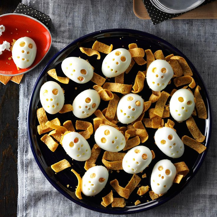 Skull Deviled Eggs Recipe -Thrill partygoers with these bone-chilling deviled eggs. The mayonnaise-filled bites are one of my favorite apps, so I had fun creating a Halloween version. —Nick Iverson, Milwaukee, Wisconsin