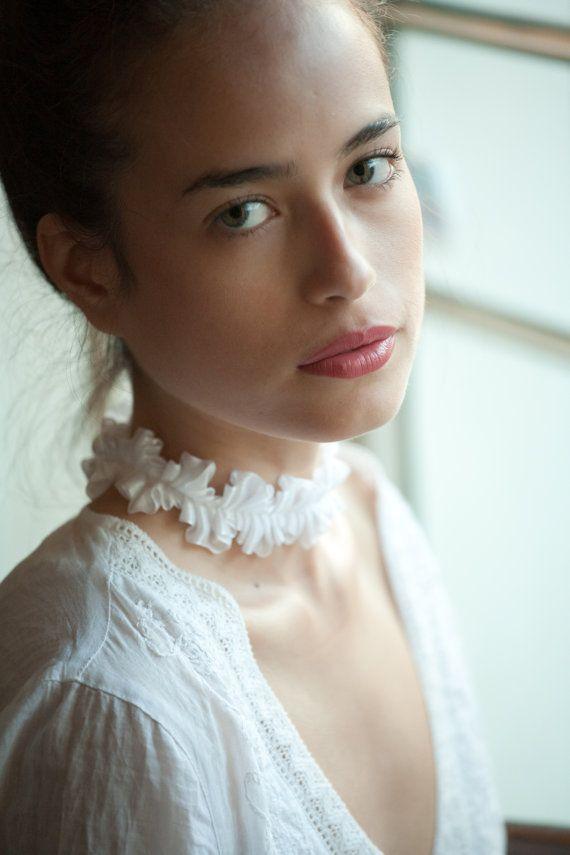 Свадебный белый шнурок ожерелье.  Викторианский Свадьба принцессы украшения воротник Ткань ювелирные изделия колье.  Винтажный стиль французского шика Причудливая.  Лолита