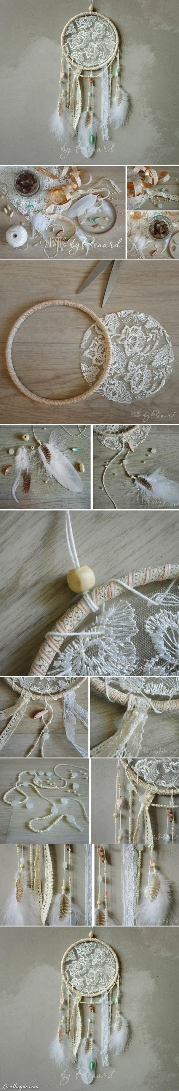 ´⁀°✿ •. Lace dream catcher DIY Tutorial How-To
