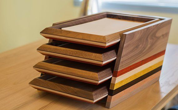 Your Place To Buy And Sell All Things Handmade Desk Organizer Tray Paper Organization Handcrafted Wood