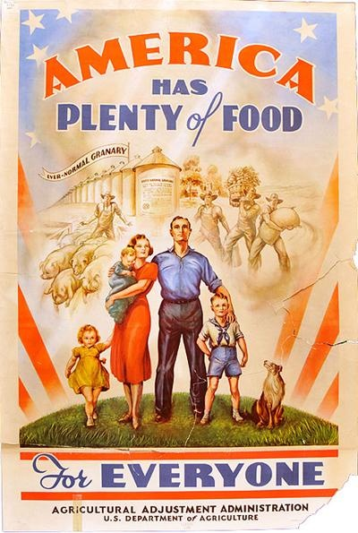 American has plenty of food... For Everyone! US Dept of Agriculture poster from WWII. Cropdusting!