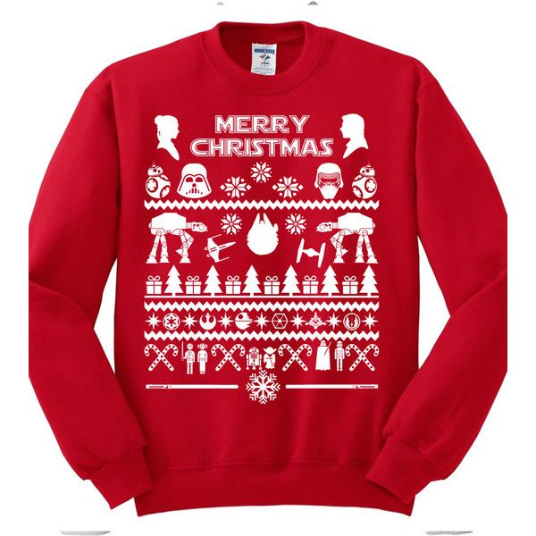 Christmas In July Sale-Star Wars Christmas Sweatshirt,fandom,Ugly... ($29) ❤ liked on Polyvore featuring tops, ugly christmas sweater shirt, red top, christmas shirts, red christmas shirts and christmas tops
